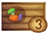 A wooden frame with three vegetables — Stock Vector