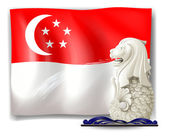 The statue of Merlion and the flag of Singapore — Stock Vector