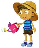 A cute little boy with a sprinkler — Stock Vector