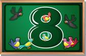 A frame with eight birds — Stock Vector