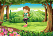 A fashionable young girl at the forest — Stock Vector