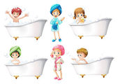 Children taking a bath — Stock Vector