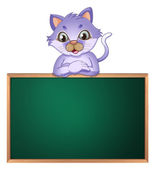 A cat leaning above the empty blackboard — Stock Vector