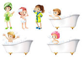 Kids taking a bath — Stock Vector