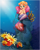 A smiling mermaid sitting above the rocks — Stock Vector