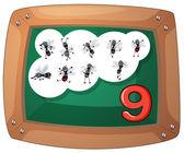 A blackboard with nine flies — Cтоковый вектор