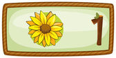 A frame with one flower — Stock Vector