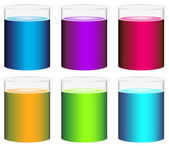 Colourful beakers — Stock Vector
