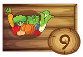 A wooden frame with nine vegetables — Vector de stock
