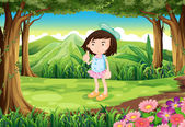 A jungle with a cute young girl — Stock Vector