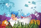 A bathtub under the sea with a mermaid — Stock Vector