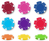 Nine colorful poker chips — Stock Vector