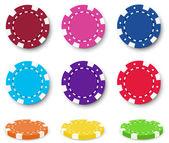 Nine colorful poker chips — Vettoriale Stock