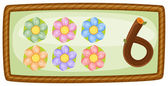 A frame with six flowers — Stock Vector