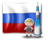 The flag of Russia with an explorer and a rocket — Stock Vector