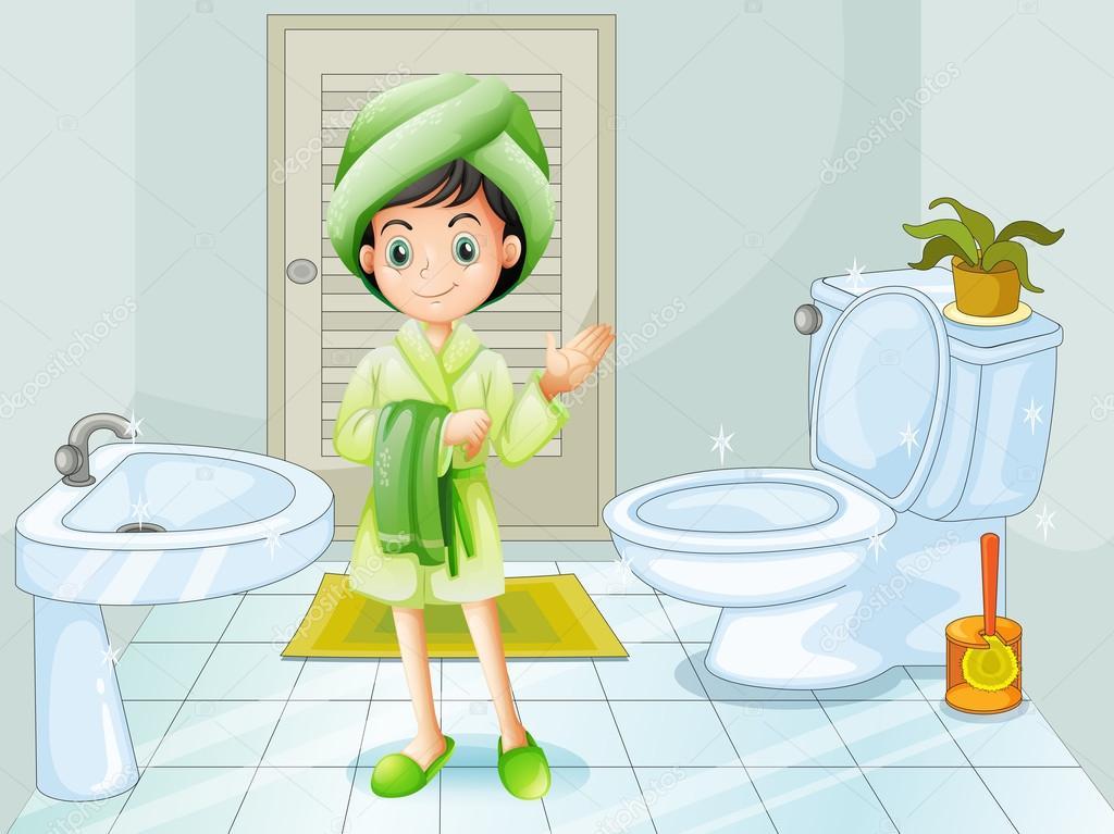 Una jovencita fresca en el cuarto de baño — Archivo ...