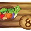 A wooden frame with eight vegetables — Stock Vector #43560421