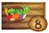 A wooden frame with eight vegetables — Stock Vector