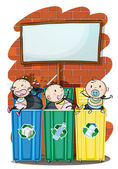 Three kids in the trashbins below the empty signboard — Stock Vector