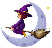 A broomstick with a witch near the moon — Stock Vector