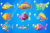 A sea with a school of colourful fishes — Stock Vector