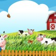 Cows at the farm — Stock Vector