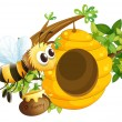 A bee near the beehive — Stock Vector #44007343