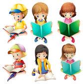Kids reading — Stock Vector