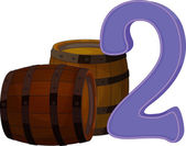 Two wooden barrels — Stock Vector