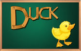 A blackboard with a duck — Stock Vector