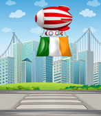 A floating balloon with the Ireland flag — Stock Vector