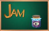 A blackboard with a jam — Stock Vector