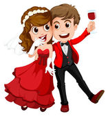 A couple who just got married — Stock Vector