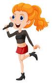 A cute singer — Stockvector
