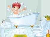 A cute boy taking a bath — Stock Vector