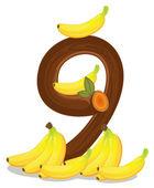 Nine bananas — Vettoriale Stock