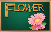 A blackboard with a flower — Stock Vector
