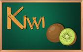 A blackboard with kiwi — Stock Vector