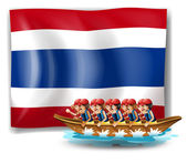 A boat with men near the flag of Thailand — Stock Vector