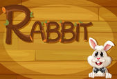 A wooden frame with a rabbit — Stock Vector
