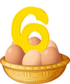 Six eggs — Stock Vector