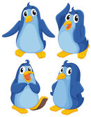 Four blue penguins — Stock Vector