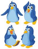 Four blue penguins — Stock Vector
