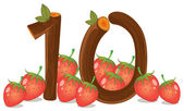 Ten strawberries — Stock Vector