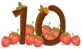 Ten strawberries — Stock Vector