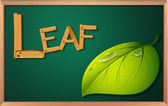 A blackboard with a leaf — Stock Vector