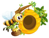 A bee near the beehive — Stock Vector