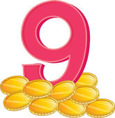 Nine gold coins — Vettoriale Stock