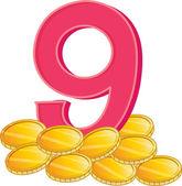 Nine gold coins — Cтоковый вектор