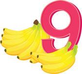 Nine ripe bananas — Stock Vector